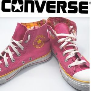 Converse Pink Plaid Yellow High Top sneaker 8